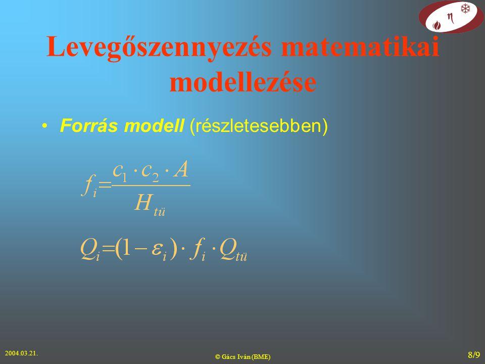 2004.03.21. © Gács Iván (BME) 8/9 Levegőszennyezés matematikai modellezése Forrás modell (részletesebben)