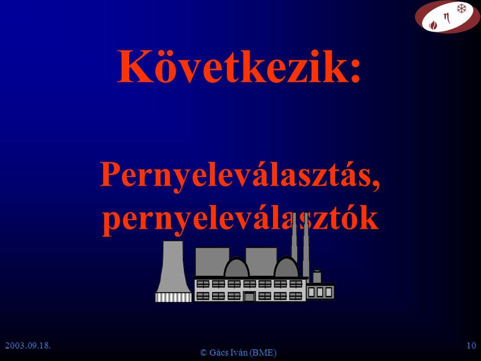 2003.09.18. © Gács Iván (BME) 10 Következik: Pernyeleválasztás, pernyeleválasztók