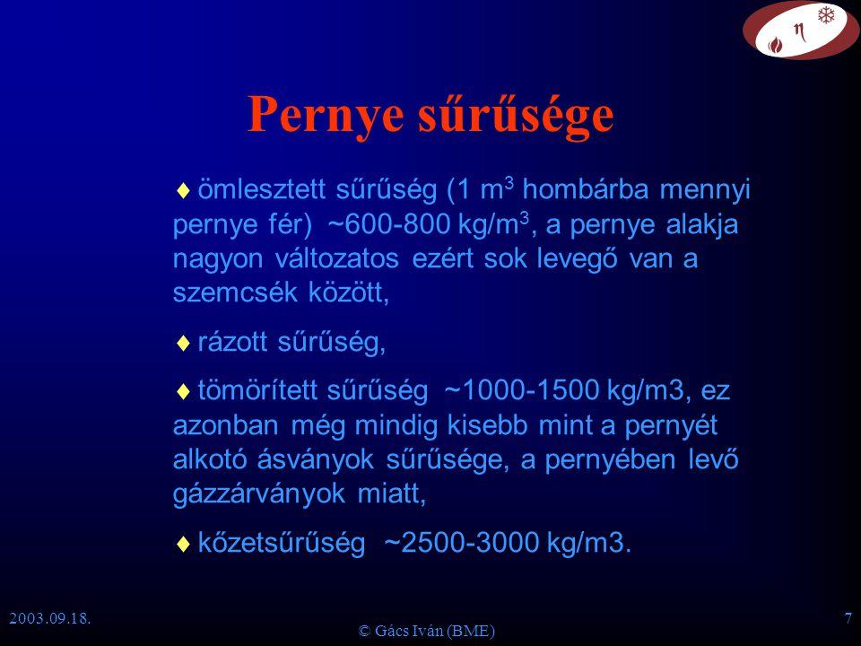 2003.09.18. © Gács Iván (BME) 7 Pernye sűrűsége  ömlesztett sűrűség (1 m 3 hombárba mennyi pernye fér) ~600-800 kg/m 3, a pernye alakja nagyon változ
