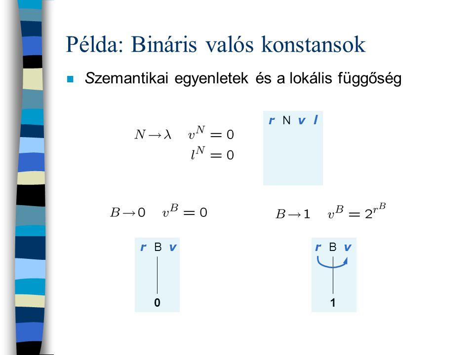 Példa: Bináris valós konstansok n Szemantikai egyenletek és a lokális függőség. S v r N v l r B v