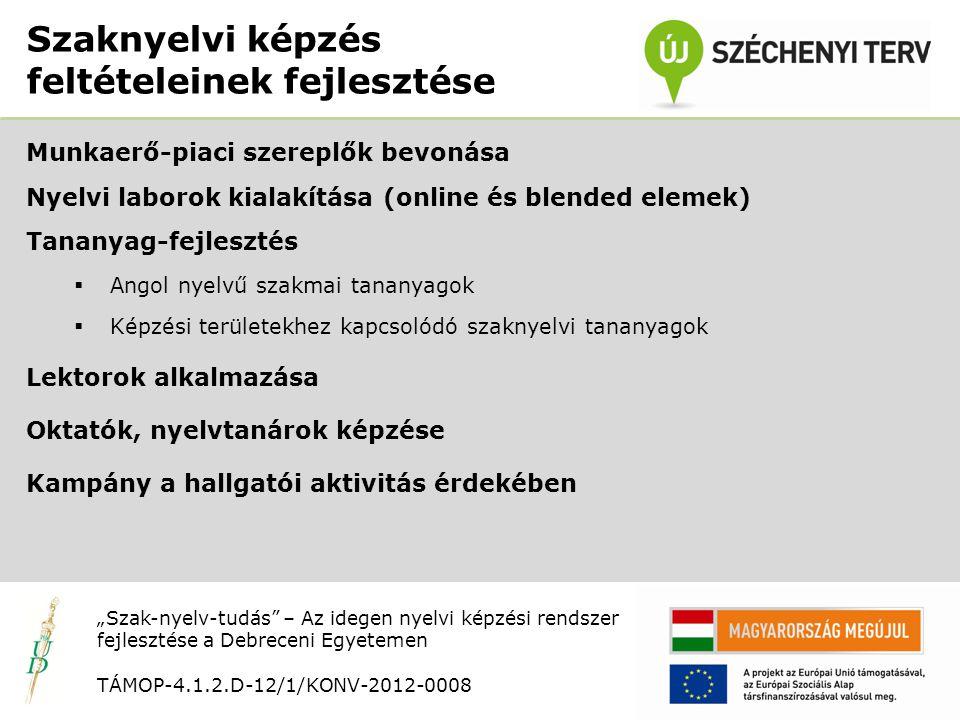 """Nyitó rendezvény TÁMOP-4.1.2.D-12/1/KONV-2012-0008 Munkaerő-piaci szereplők bevonása Nyelvi laborok kialakítása (online és blended elemek) Tananyag-fejlesztés  Angol nyelvű szakmai tananyagok  Képzési területekhez kapcsolódó szaknyelvi tananyagok Lektorok alkalmazása Oktatók, nyelvtanárok képzése Kampány a hallgatói aktivitás érdekében Szaknyelvi képzés feltételeinek fejlesztése """"Szak-nyelv-tudás – Az idegen nyelvi képzési rendszer fejlesztése a Debreceni Egyetemen TÁMOP-4.1.2.D-12/1/KONV-2012-0008"""