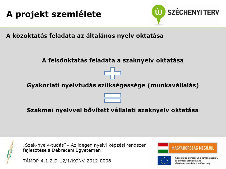 """Nyitó rendezvény TÁMOP-4.1.2.D-12/1/KONV-2012-0008 A közoktatás feladata az általános nyelv oktatása A felsőoktatás feladata a szaknyelv oktatása Gyakorlati nyelvtudás szükségessége (munkavállalás) Szakmai nyelvvel bővített vállalati szaknyelv oktatása A projekt szemlélete """"Szak-nyelv-tudás – Az idegen nyelvi képzési rendszer fejlesztése a Debreceni Egyetemen TÁMOP-4.1.2.D-12/1/KONV-2012-0008"""