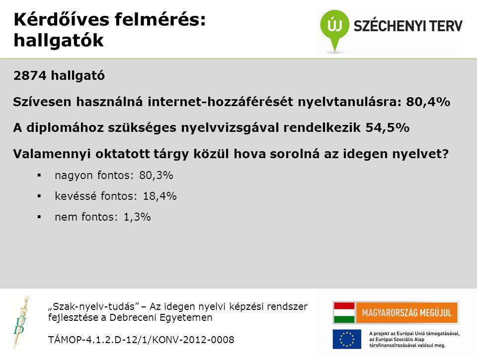 Nyitó rendezvény TÁMOP-4.1.2.D-12/1/KONV-2012-0008 2874 hallgató Szívesen használná internet-hozzáférését nyelvtanulásra: 80,4% A diplomához szükséges nyelvvizsgával rendelkezik 54,5% Valamennyi oktatott tárgy közül hova sorolná az idegen nyelvet.