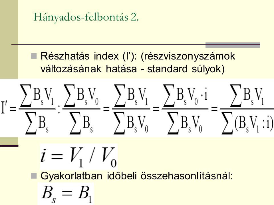 Hányados-felbontás 2. Részhatás index (I'): (részviszonyszámok változásának hatása - standard súlyok) Gyakorlatban időbeli összehasonlításnál:
