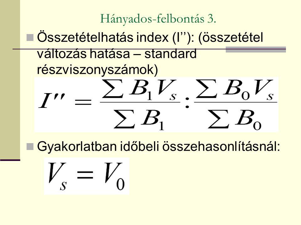 Hányados-felbontás 3. Összetételhatás index (I''): (összetétel változás hatása – standard részviszonyszámok) Gyakorlatban időbeli összehasonlításnál: