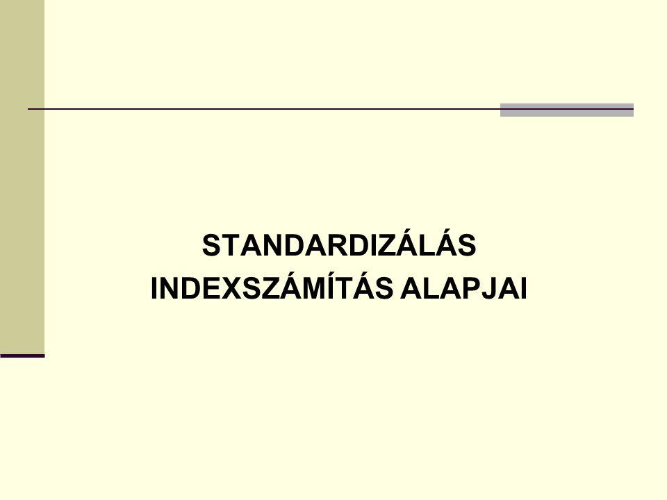 STANDARDIZÁLÁS INDEXSZÁMÍTÁS ALAPJAI