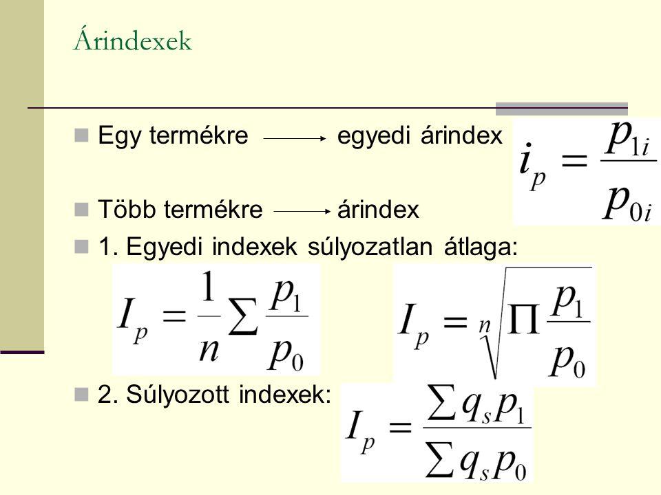 Árindexek Egy termékre egyedi árindex Több termékre árindex 1. Egyedi indexek súlyozatlan átlaga: 2. Súlyozott indexek: