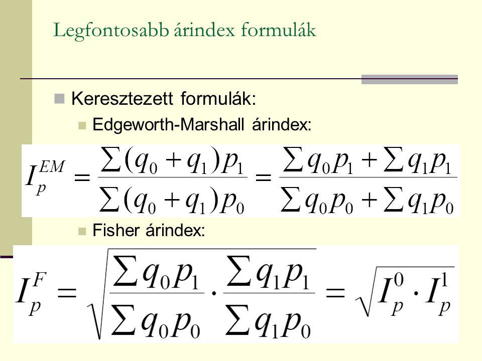 Legfontosabb árindex formulák Keresztezett formulák: Edgeworth-Marshall árindex: Fisher árindex: