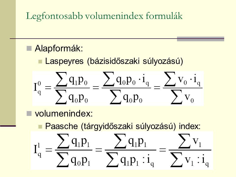 Legfontosabb volumenindex formulák Alapformák: Laspeyres (bázisidőszaki súlyozású) volumenindex: Paasche (tárgyidőszaki súlyozású) index: