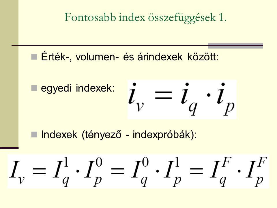 Fontosabb index összefüggések 1. Érték-, volumen- és árindexek között: egyedi indexek: Indexek (tényező - indexpróbák):