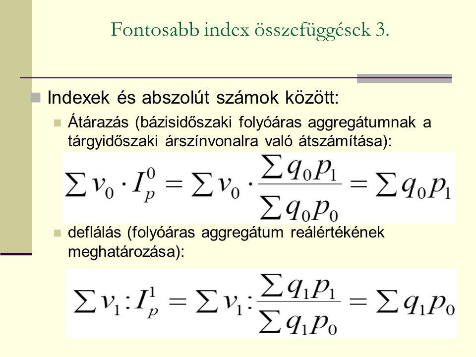 Fontosabb index összefüggések 3. Indexek és abszolút számok között: Átárazás (bázisidőszaki folyóáras aggregátumnak a tárgyidőszaki árszínvonalra való