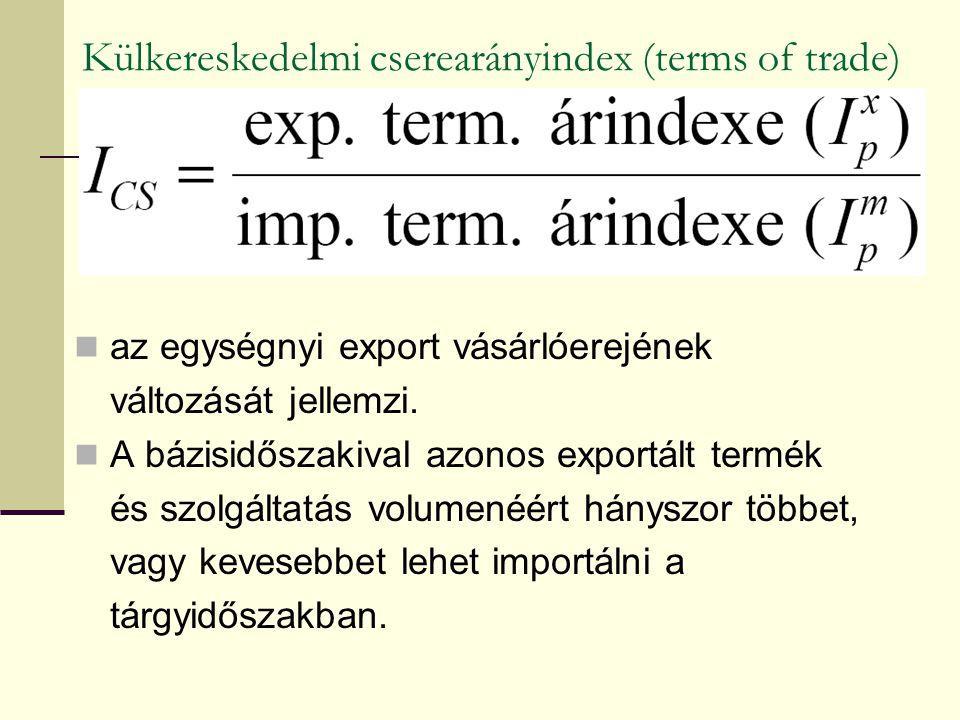 Külkereskedelmi cserearányindex (terms of trade) az egységnyi export vásárlóerejének változását jellemzi. A bázisidőszakival azonos exportált termék é