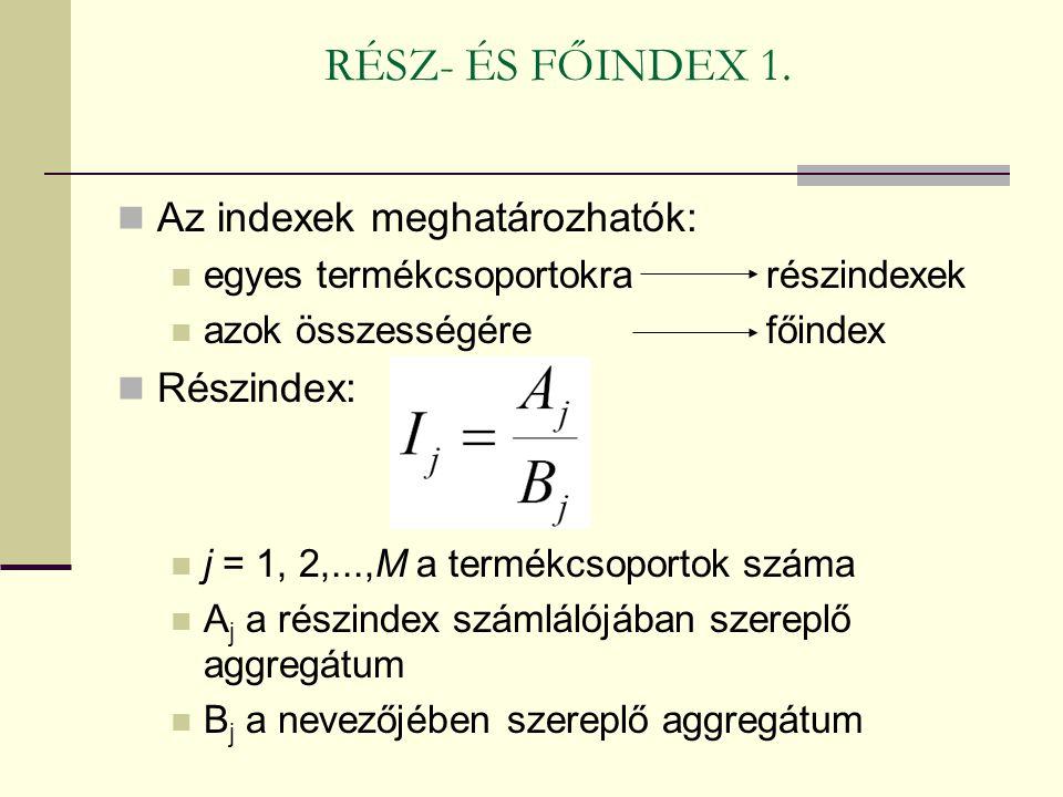 RÉSZ- ÉS FŐINDEX 1. Az indexek meghatározhatók: egyes termékcsoportokra részindexek azok összességére főindex Részindex: j = 1, 2,...,M a termékcsopor