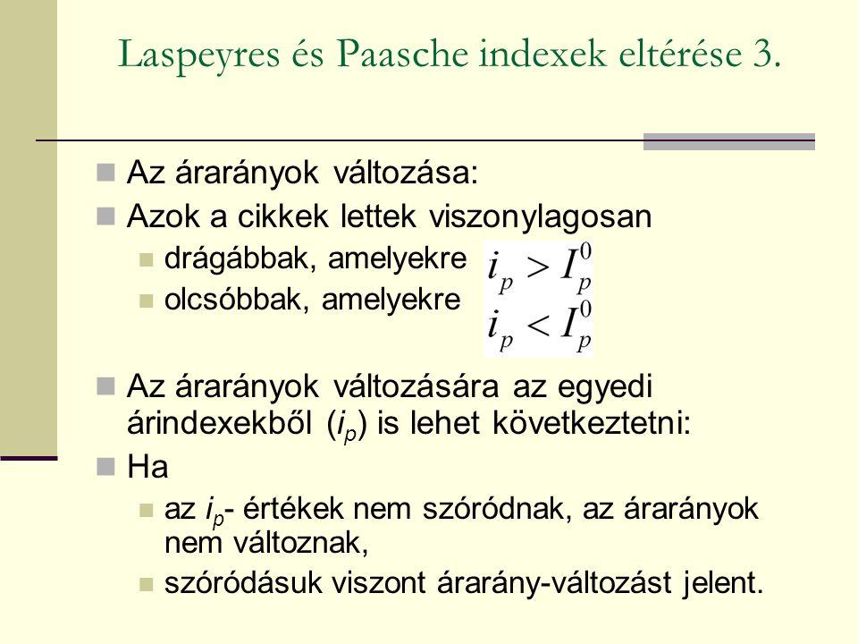 Laspeyres és Paasche indexek eltérése 3. Az árarányok változása: Azok a cikkek lettek viszonylagosan drágábbak, amelyekre olcsóbbak, amelyekre Az árar