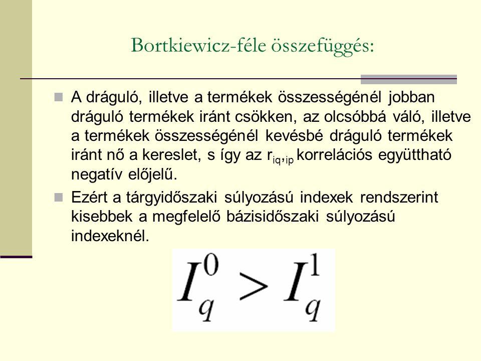 Bortkiewicz-féle összefüggés: A dráguló, illetve a termékek összességénél jobban dráguló termékek iránt csökken, az olcsóbbá váló, illetve a termékek összességénél kevésbé dráguló termékek iránt nő a kereslet, s így az r iq, ip korrelációs együttható negatív előjelű.