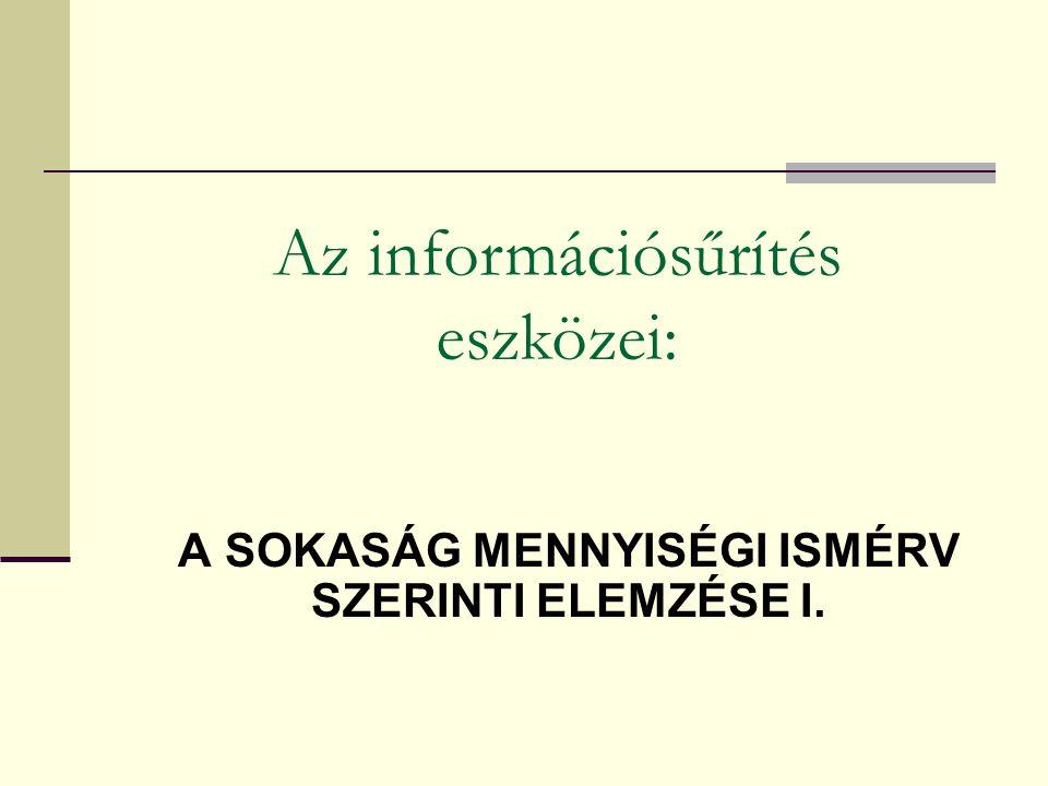 A SOKASÁG MENNYISÉGI ISMÉRV SZERINTI ELEMZÉSE I. Az információsűrítés eszközei: