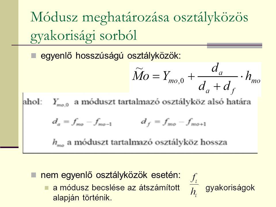 Módusz meghatározása osztályközös gyakorisági sorból egyenlő hosszúságú osztályközök: nem egyenlő osztályközök esetén: a módusz becslése az átszámítot