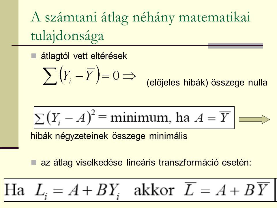 A számtani átlag néhány matematikai tulajdonsága átlagtól vett eltérések (előjeles hibák) összege nulla hibák négyzeteinek összege minimális az átlag viselkedése lineáris transzformáció esetén: