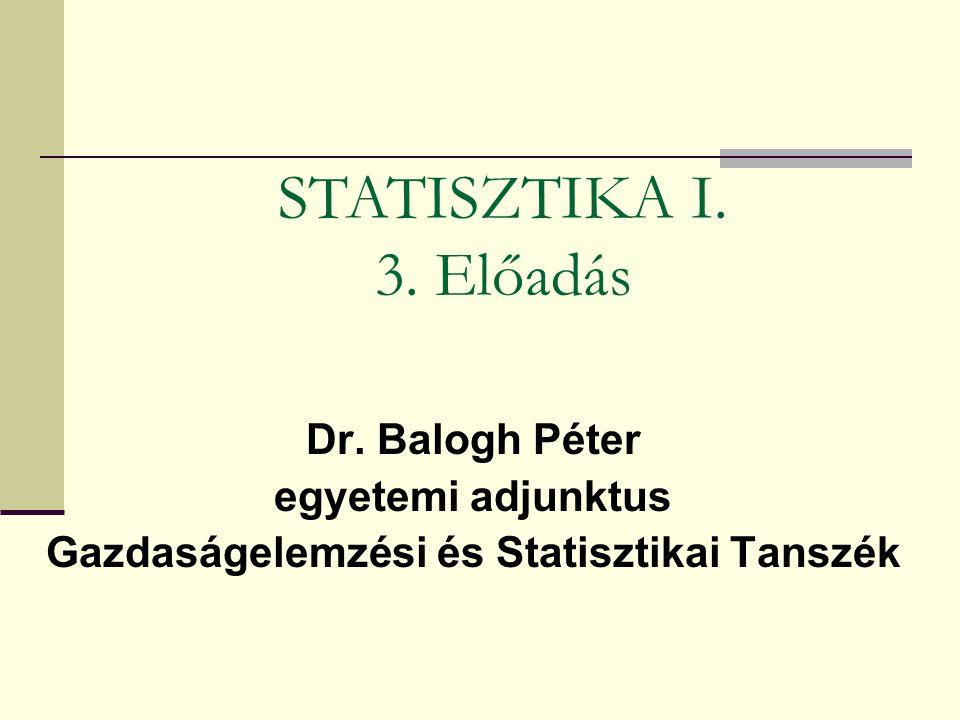Dr. Balogh Péter egyetemi adjunktus Gazdaságelemzési és Statisztikai Tanszék STATISZTIKA I. 3. Előadás