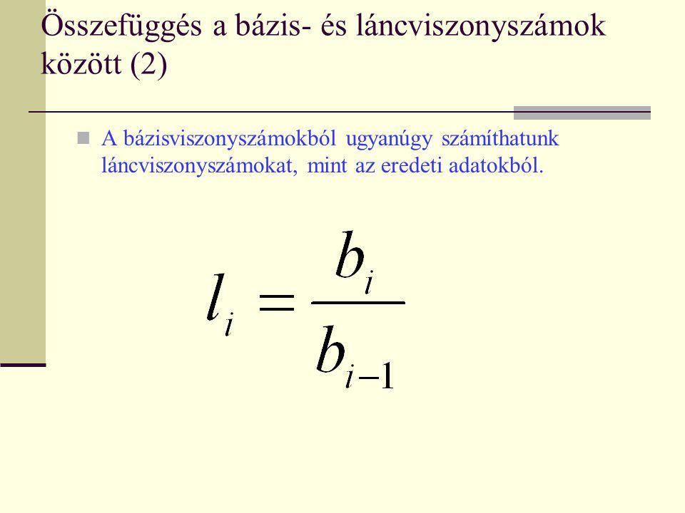 Összefüggés a bázis- és láncviszonyszámok között (2) A bázisviszonyszámokból ugyanúgy számíthatunk láncviszonyszámokat, mint az eredeti adatokból.
