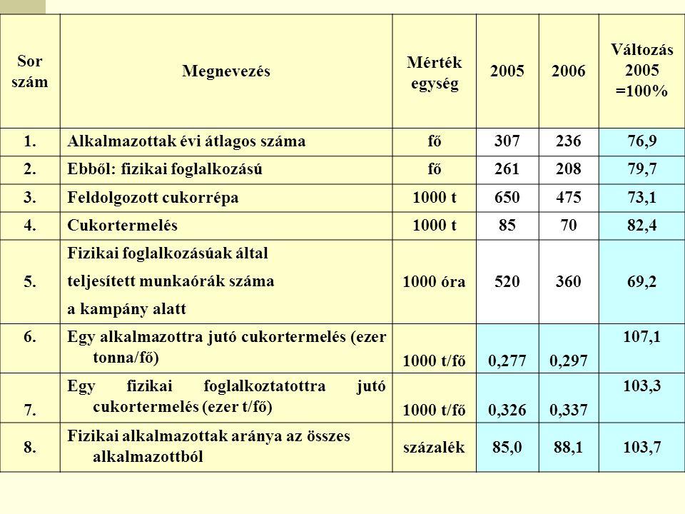 Sor szám Megnevezés Mérték egység 20052006 Változás 2005 =100% 1.Alkalmazottak évi átlagos számafő30723676,9 2.Ebből: fizikai foglalkozásúfő26120879,7