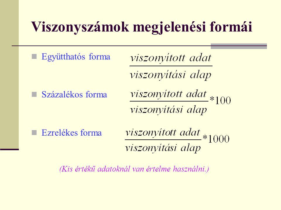 Viszonyszámok megjelenési formái Együtthatós forma Százalékos forma Ezrelékes forma (Kis értékű adatoknál van értelme használni.)