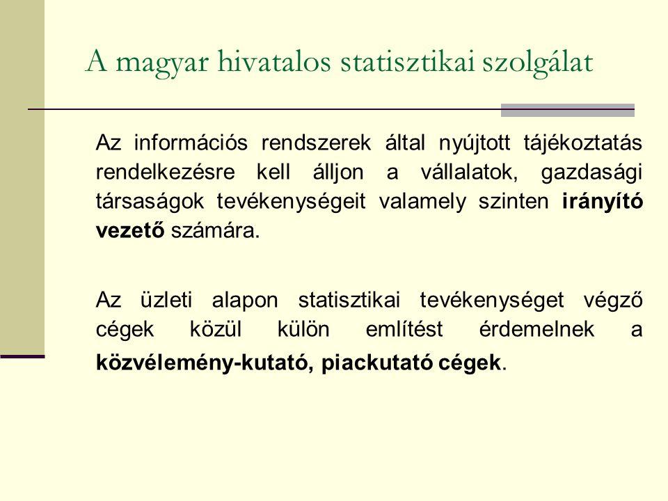 A magyar hivatalos statisztikai szolgálat Az információs rendszerek által nyújtott tájékoztatás rendelkezésre kell álljon a vállalatok, gazdasági társaságok tevékenységeit valamely szinten irányító vezető számára.