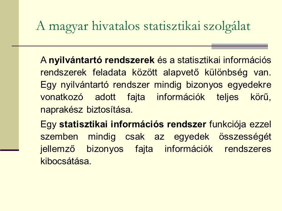 A magyar hivatalos statisztikai szolgálat A nyilvántartó rendszerek és a statisztikai információs rendszerek feladata között alapvető különbség van. E