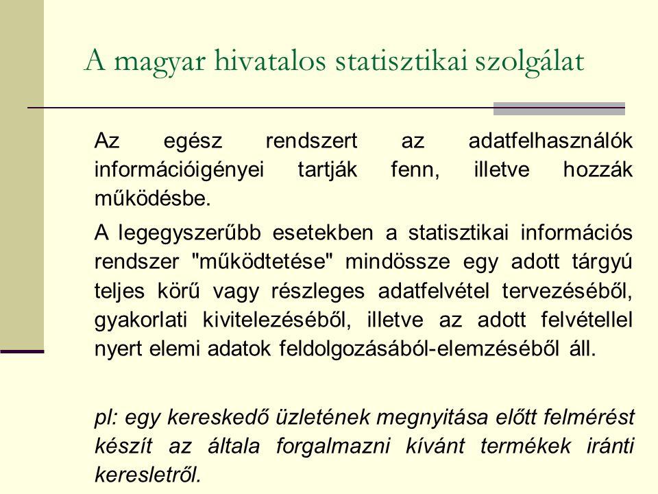 A magyar hivatalos statisztikai szolgálat Az egész rendszert az adatfelhasználók információigényei tartják fenn, illetve hozzák működésbe. A legegysze