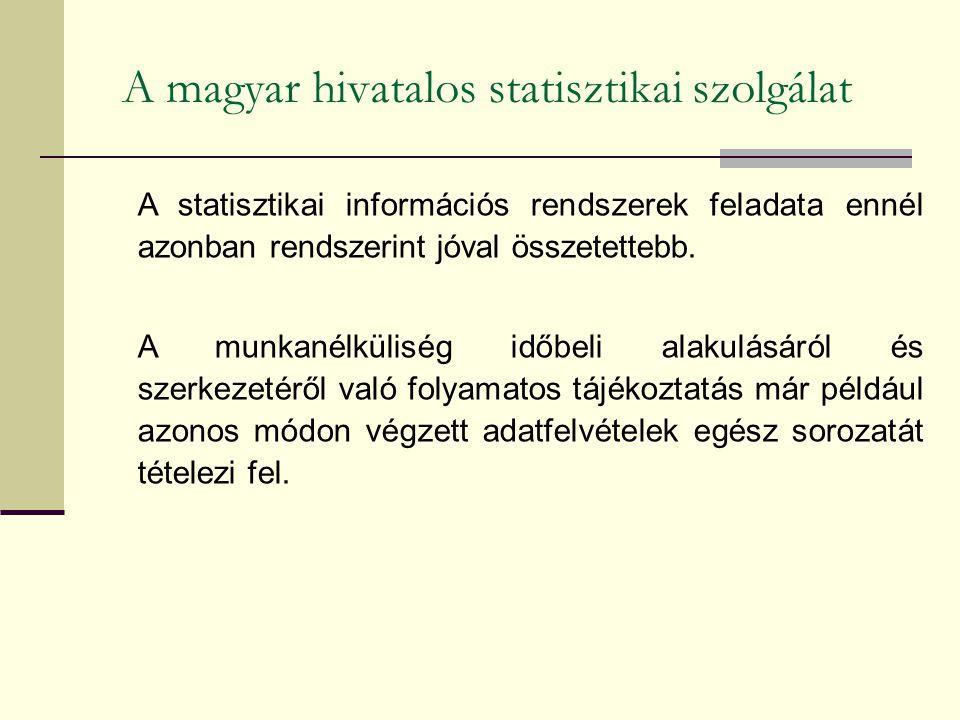 A magyar hivatalos statisztikai szolgálat A statisztikai információs rendszerek feladata ennél azonban rendszerint jóval összetettebb. A munkanélkülis