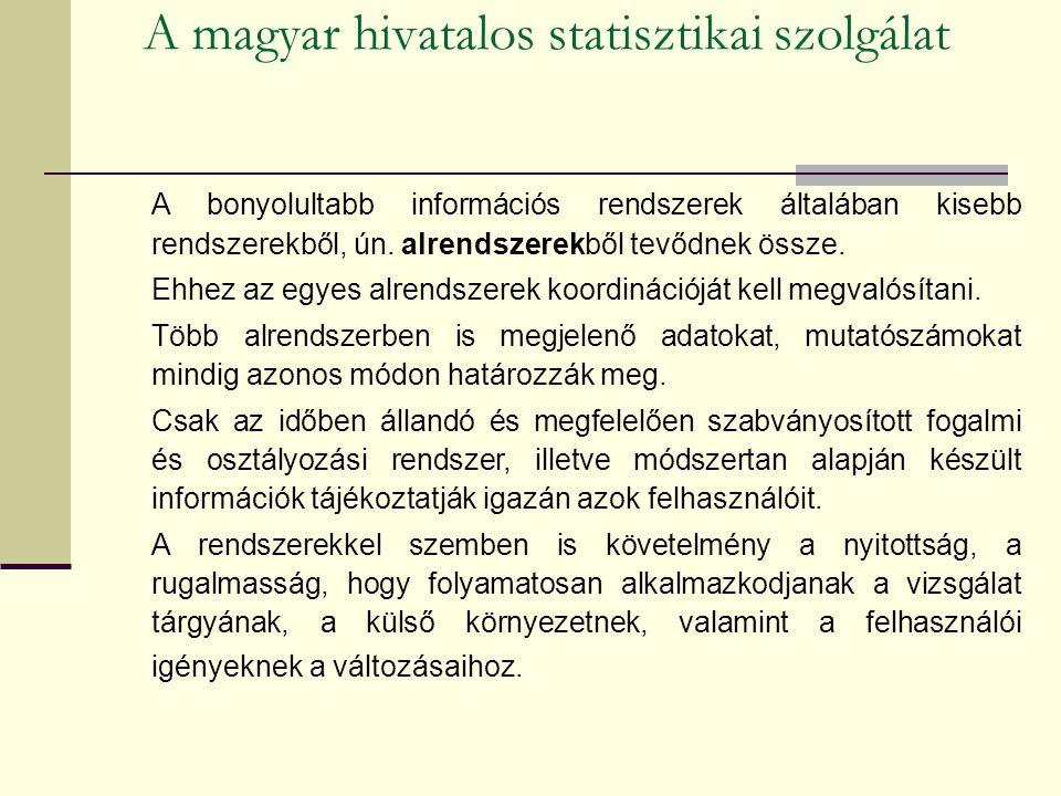 A magyar hivatalos statisztikai szolgálat A bonyolultabb információs rendszerek általában kisebb rendszerekből, ún.