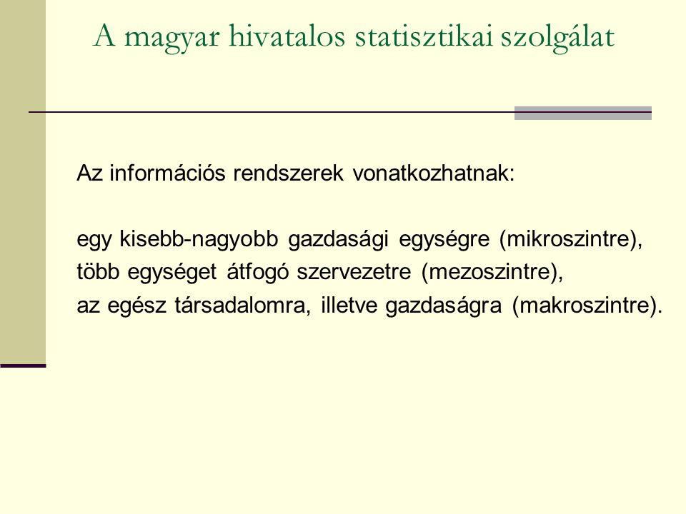 A magyar hivatalos statisztikai szolgálat Az információs rendszerek vonatkozhatnak: egy kisebb-nagyobb gazdasági egységre (mikroszintre), több egységet átfogó szervezetre (mezoszintre), az egész társadalomra, illetve gazdaságra (makroszintre).