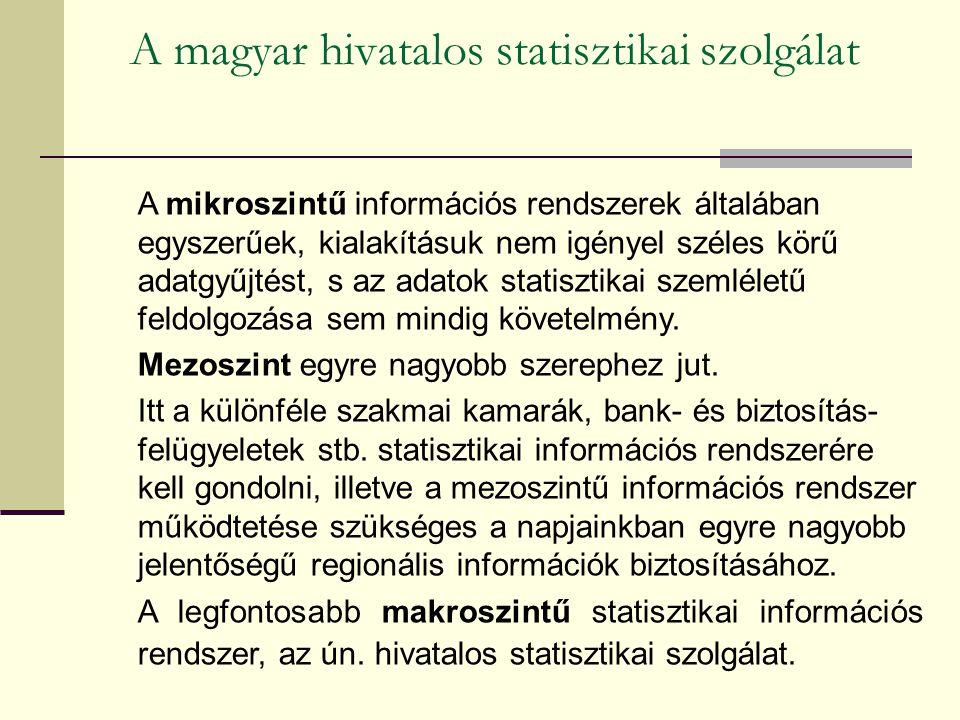 A magyar hivatalos statisztikai szolgálat A mikroszintű információs rendszerek általában egyszerűek, kialakításuk nem igényel széles körű adatgyűjtést, s az adatok statisztikai szemléletű feldolgozása sem mindig követelmény.