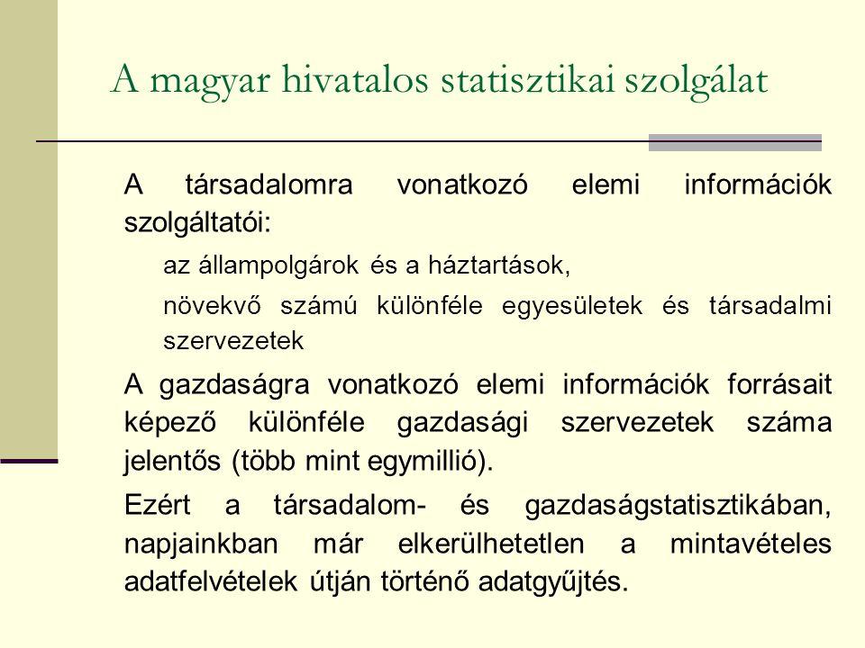 A magyar hivatalos statisztikai szolgálat A társadalomra vonatkozó elemi információk szolgáltatói: az állampolgárok és a háztartások, növekvő számú különféle egyesületek és társadalmi szervezetek A gazdaságra vonatkozó elemi információk forrásait képező különféle gazdasági szervezetek száma jelentős (több mint egymillió).