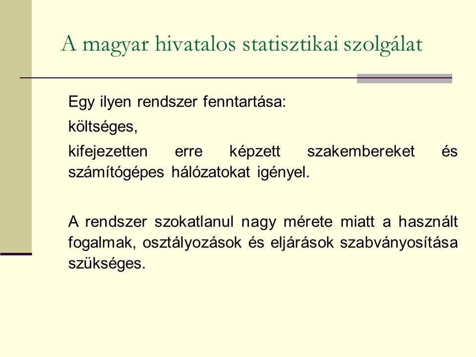 A magyar hivatalos statisztikai szolgálat Egy ilyen rendszer fenntartása: költséges, kifejezetten erre képzett szakembereket és számítógépes hálózatok