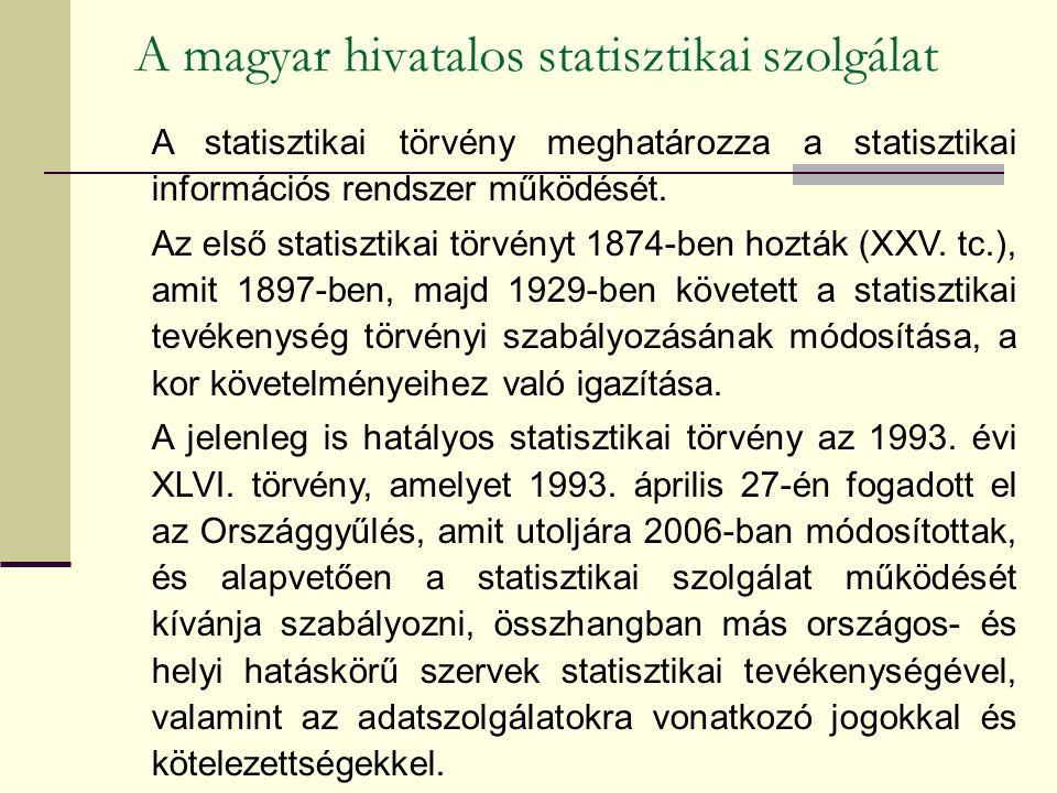 A magyar hivatalos statisztikai szolgálat A statisztikai törvény meghatározza a statisztikai információs rendszer működését. Az első statisztikai törv