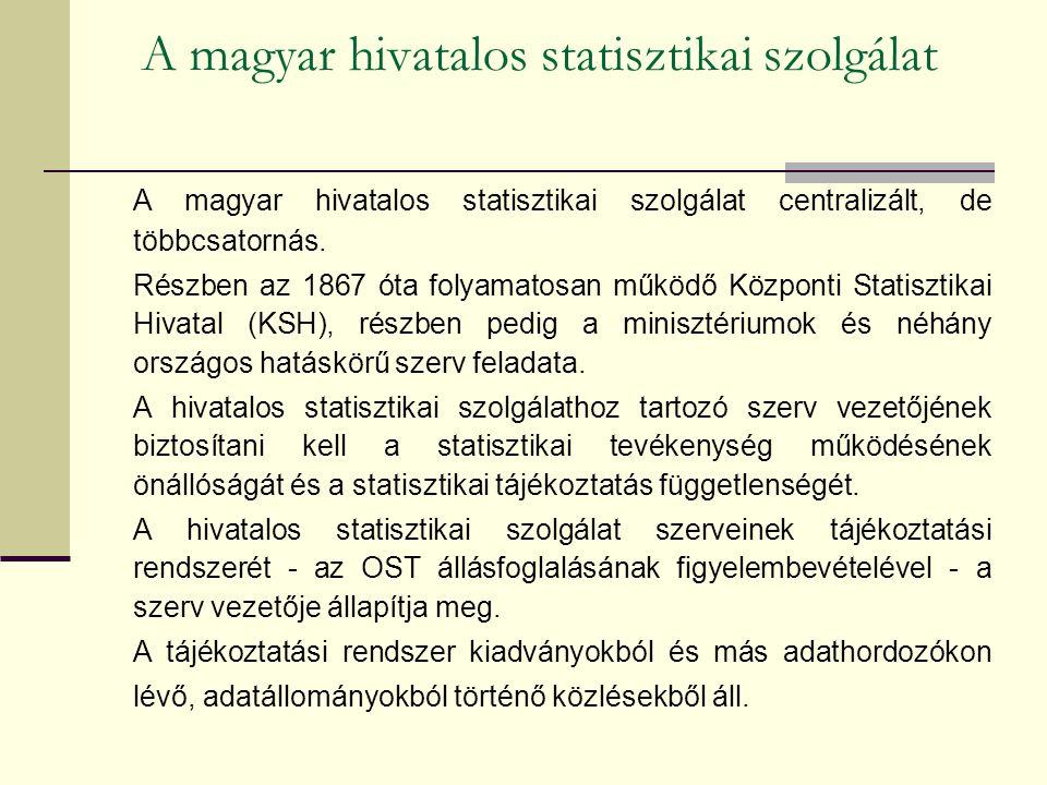 A magyar hivatalos statisztikai szolgálat A magyar hivatalos statisztikai szolgálat centralizált, de többcsatornás. Részben az 1867 óta folyamatosan m