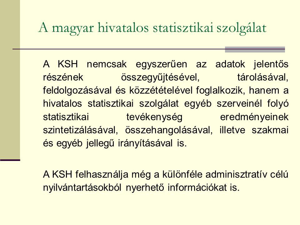 A magyar hivatalos statisztikai szolgálat A KSH nemcsak egyszerűen az adatok jelentős részének összegyűjtésével, tárolásával, feldolgozásával és közzétételével foglalkozik, hanem a hivatalos statisztikai szolgálat egyéb szerveinél folyó statisztikai tevékenység eredményeinek szintetizálásával, összehangolásával, illetve szakmai és egyéb jellegű irányításával is.