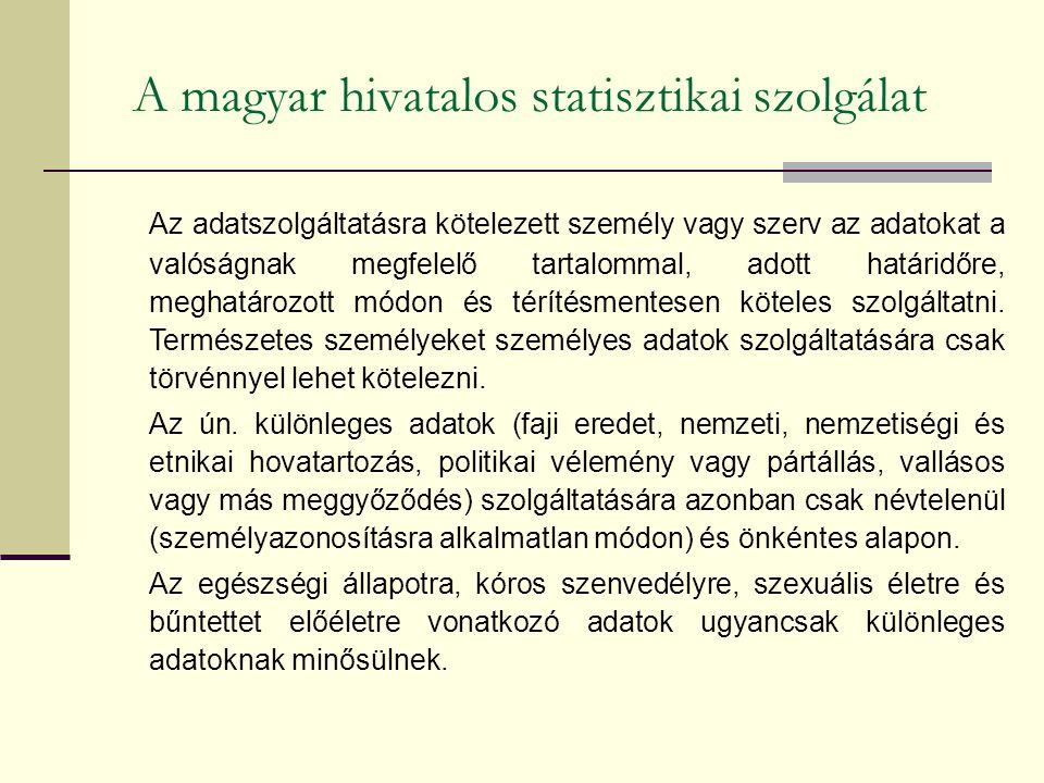 A magyar hivatalos statisztikai szolgálat Az adatszolgáltatásra kötelezett személy vagy szerv az adatokat a valóságnak megfelelő tartalommal, adott határidőre, meghatározott módon és térítésmentesen köteles szolgáltatni.