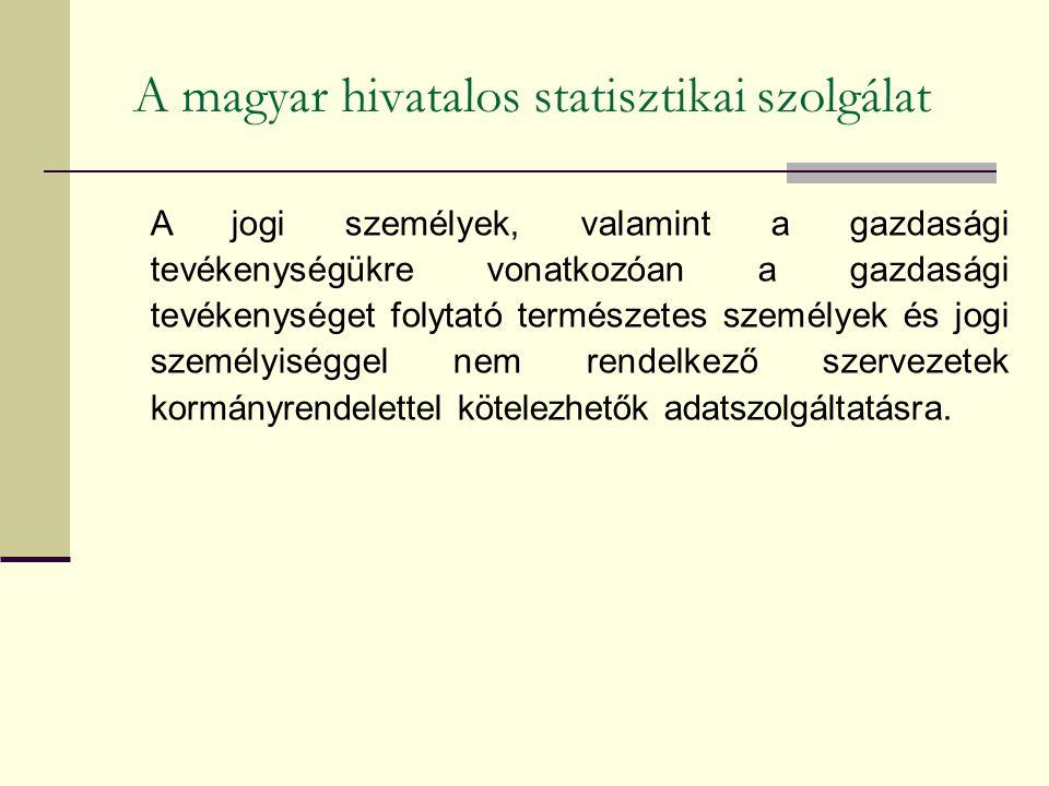 A magyar hivatalos statisztikai szolgálat A jogi személyek, valamint a gazdasági tevékenységükre vonatkozóan a gazdasági tevékenységet folytató természetes személyek és jogi személyiséggel nem rendelkező szervezetek kormányrendelettel kötelezhetők adatszolgáltatásra.