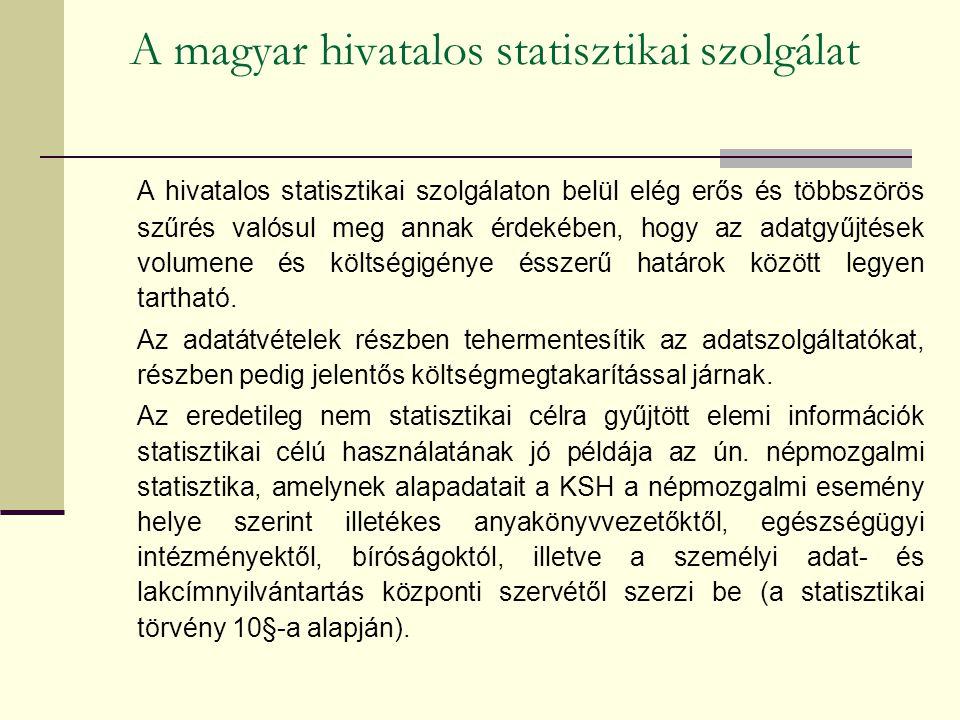 A magyar hivatalos statisztikai szolgálat A hivatalos statisztikai szolgálaton belül elég erős és többszörös szűrés valósul meg annak érdekében, hogy az adatgyűjtések volumene és költségigénye ésszerű határok között legyen tartható.