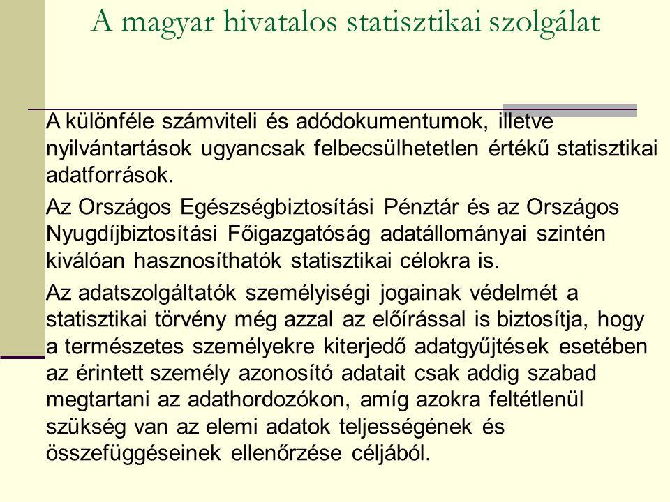A magyar hivatalos statisztikai szolgálat A különféle számviteli és adódokumentumok, illetve nyilvántartások ugyancsak felbecsülhetetlen értékű statisztikai adatforrások.