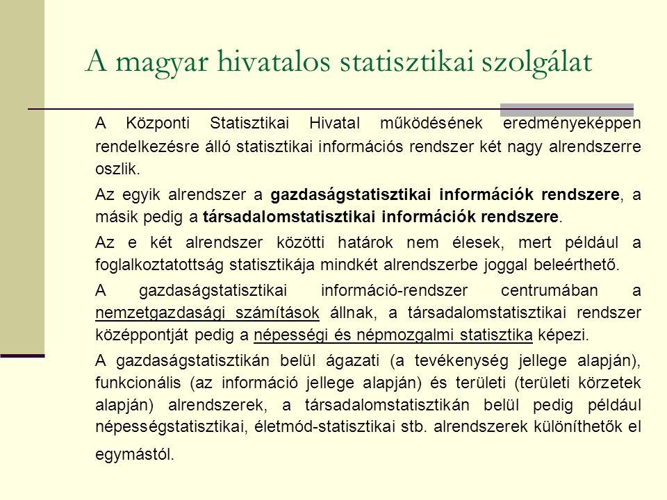 A magyar hivatalos statisztikai szolgálat A Központi Statisztikai Hivatal működésének eredményeképpen rendelkezésre álló statisztikai információs rendszer két nagy alrendszerre oszlik.