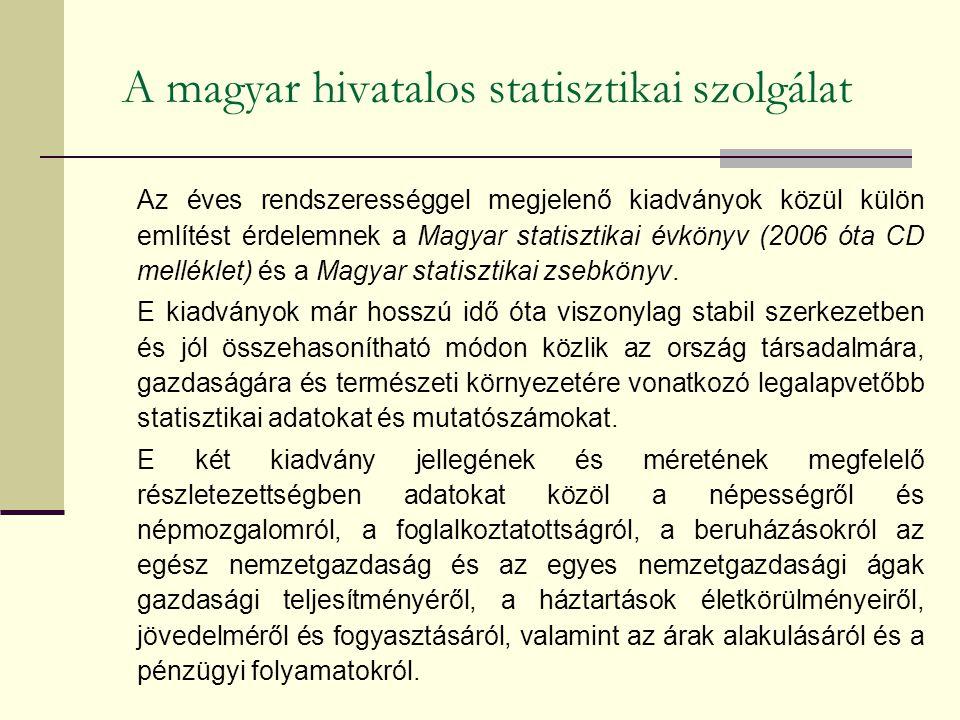 A magyar hivatalos statisztikai szolgálat Az éves rendszerességgel megjelenő kiadványok közül külön említést érdelemnek a Magyar statisztikai évkönyv (2006 óta CD melléklet) és a Magyar statisztikai zsebkönyv.
