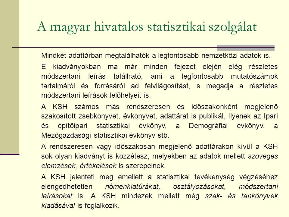 A magyar hivatalos statisztikai szolgálat Mindkét adattárban megtalálhatók a legfontosabb nemzetközi adatok is. E kiadványokban ma már minden fejezet