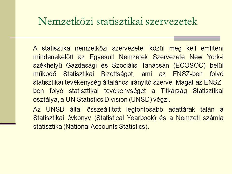 Nemzetközi statisztikai szervezetek A statisztika nemzetközi szervezetei közül meg kell említeni mindenekelőtt az Egyesült Nemzetek Szervezete New York-i székhelyű Gazdasági és Szociális Tanácsán (ECOSOC) belül működő Statisztikai Bizottságot, ami az ENSZ-ben folyó statisztikai tevékenység általános irányító szerve.