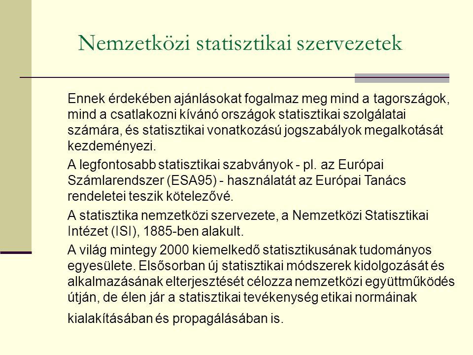 Nemzetközi statisztikai szervezetek Ennek érdekében ajánlásokat fogalmaz meg mind a tagországok, mind a csatlakozni kívánó országok statisztikai szolgálatai számára, és statisztikai vonatkozású jogszabályok megalkotását kezdeményezi.