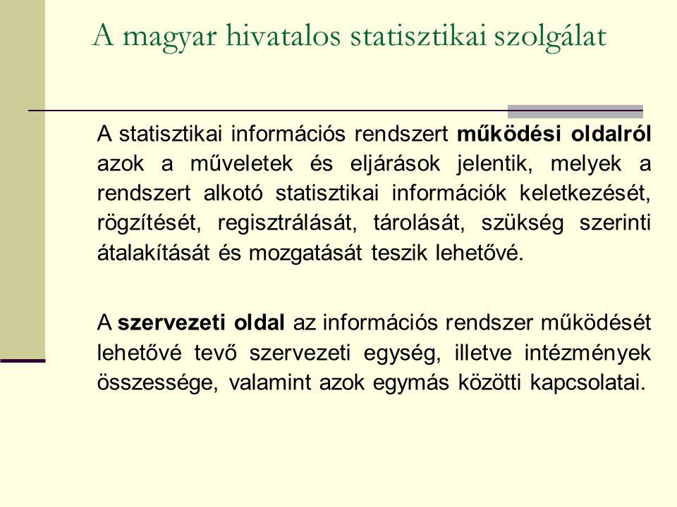 A magyar hivatalos statisztikai szolgálat A statisztikai információs rendszert működési oldalról azok a műveletek és eljárások jelentik, melyek a rendszert alkotó statisztikai információk keletkezését, rögzítését, regisztrálását, tárolását, szükség szerinti átalakítását és mozgatását teszik lehetővé.