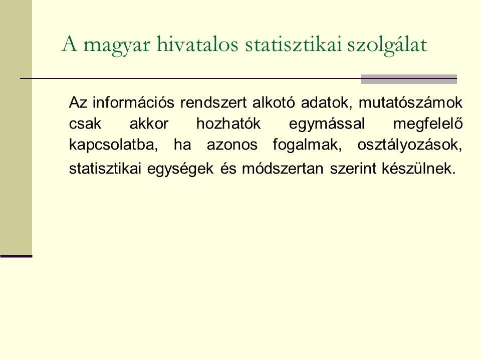 A magyar hivatalos statisztikai szolgálat Az információs rendszert alkotó adatok, mutatószámok csak akkor hozhatók egymással megfelelő kapcsolatba, ha azonos fogalmak, osztályozások, statisztikai egységek és módszertan szerint készülnek.