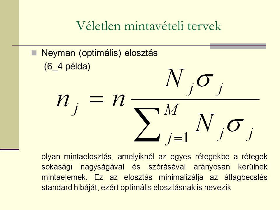 Neyman (optimális) elosztás (6_4 példa) olyan mintaelosztás, amelyiknél az egyes rétegekbe a rétegek sokasági nagyságával és szórásával arányosan kerü